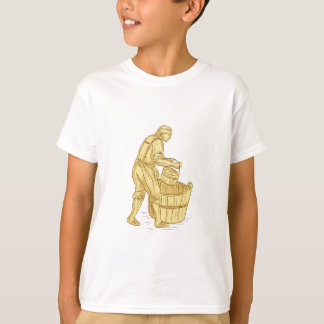 Medieval Miller With Bucket Drawing T-Shirt