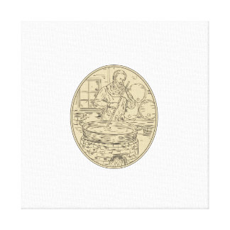 Medieval Monk Brewing Beer Oval Drawing Canvas Print