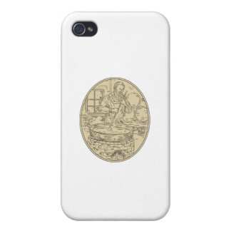Medieval Monk Brewing Beer Oval Drawing iPhone 4 Case