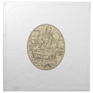 Medieval Monk Brewing Beer Oval Drawing Napkin
