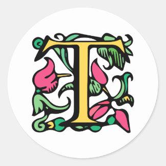Medieval Monogram Elegant Letter T Classic Round Sticker
