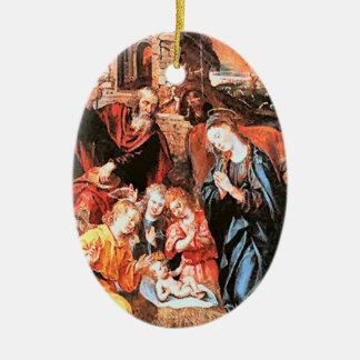 medieval nativity ceramic oval ornament