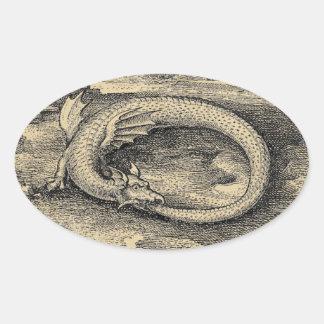 Medieval Ouroboros Dragon Oval Sticker