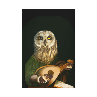 Medieval Owl Plays the Lute - Anthropomorphic Art Canvas Print