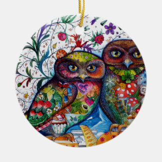 Medieval owls 1 ceramic ornament