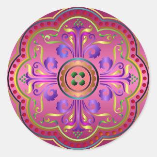 Medieval Pattern Round Sticker