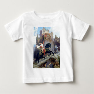 Medieval Prince black horse gnomes castle Baby T-Shirt