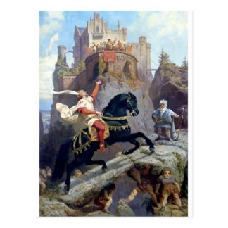 Medieval Prince black horse gnomes castle Postcard