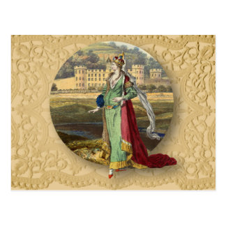 Medieval Queen With Castle Postcard
