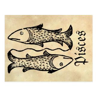 Medieval Renaissance Zodiac Symbol Pisces Postcard