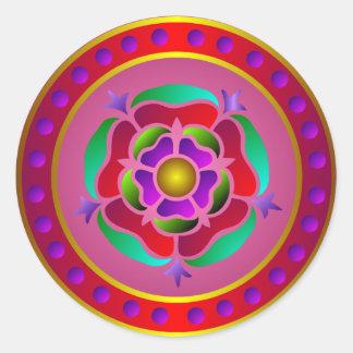 Medieval Rose Pattern Round Sticker