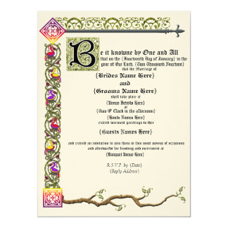 Medieval Scroll Wedding Invitation 17 Cm X 22 Cm Invitation Card