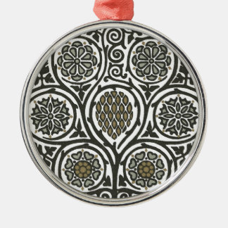Medieval scrollwork Silver-Colored round ornament