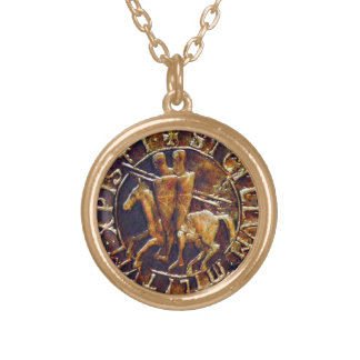 Medieval Seal of the Knights Templar Gold Plated Necklace
