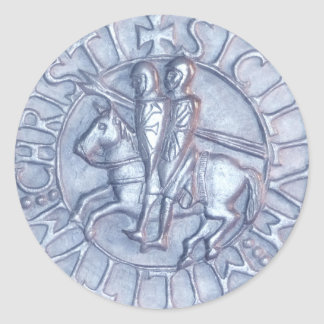 Medieval Seal of the Knights Templar Round Sticker