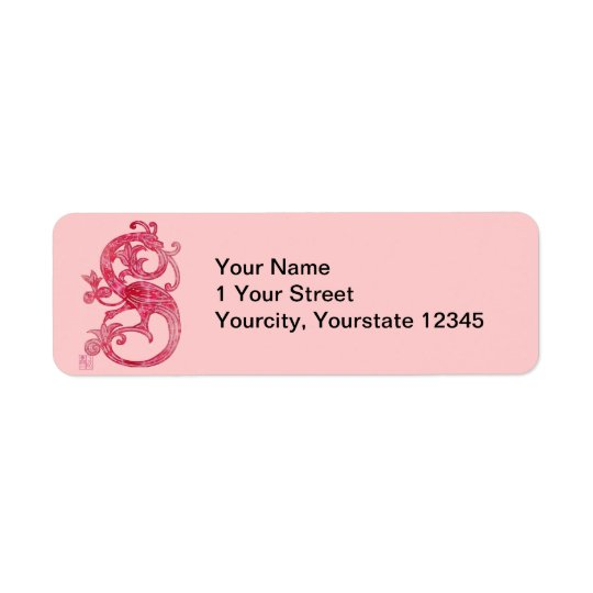 Medieval Smoky Red Lacy Glass Dragon Return Address Label