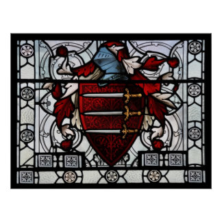 Medieval Stained Glass Panel Poster