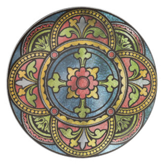 Medieval Stained Glass Plate