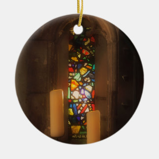 Medieval Stained Glass Round Ceramic Ornament