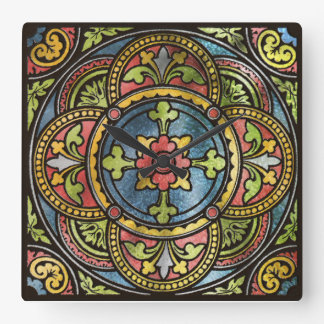 Medieval Stained Glass Square Wall Clock