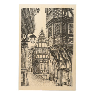 Medieval Townscape Wood Wall Art