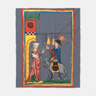 Medieval Travelling Salesman with Donkey Fleece Blanket