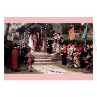 Medieval Wedding Bride Groom antique painting Card