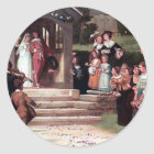 Medieval Wedding Bride Groom antique painting Classic Round Sticker