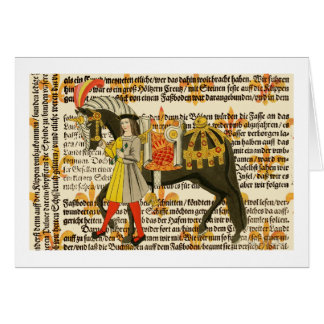 Medieval Woman and Horse Card