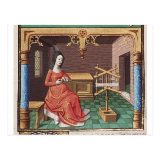 Medieval woman winds yarn postcard