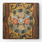 medieval wood painting art vintage old Gothic hist Square Wall Clock