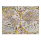 Medieval World Map From 1525 Postcard