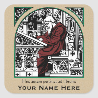 Medieval Writing Desk and Monk Bookplate Sticker