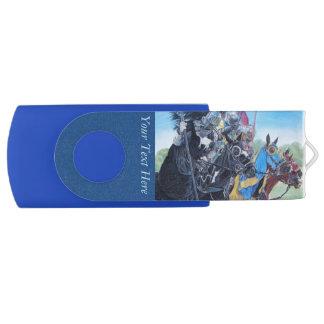 medievil knights jousting on horses historic art swivel USB 2.0 flash drive