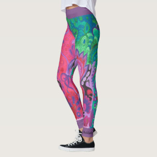 Medilludesign Inner Garden violet green Leggings