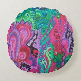 Medilludesign Inner Garden violet green Round Pillow