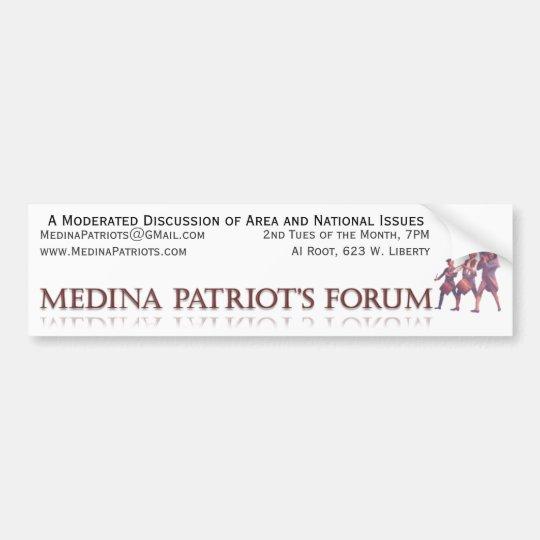 Medina Patriot's Forum Bumper Sticker