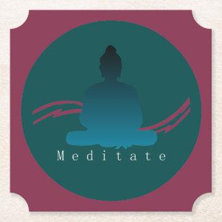 """""""Meditate"""" Beautiful Buddha. Paper Coaster"""