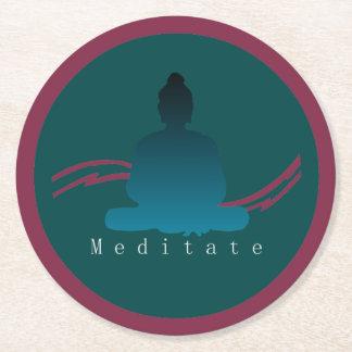 """""""Meditate"""" Beautiful Buddha. Round Paper Coaster"""