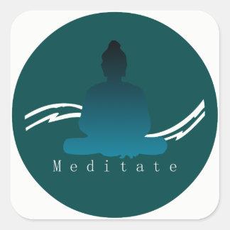 """""""Meditate"""" Beautiful Buddha. Square Sticker"""