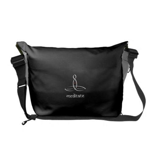 Meditate - White Sanskrit style Messenger Bag