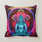 Meditating Blue Buddha Throw Pillow