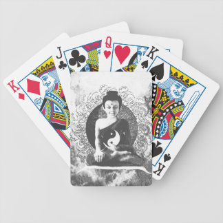 Meditating Buddha with Yin Yang Bicycle Playing Cards