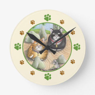 Meditating Cats Zen Round (Medium) Wall Clock