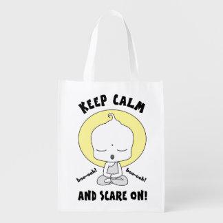 Meditating Ghost Grocery Bag