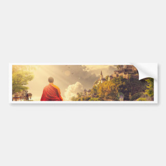 Meditating Monk Before Large Temple Bumper Sticker