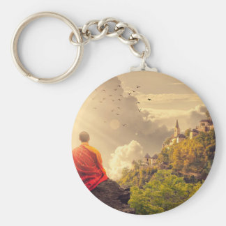 Meditating Monk Before Large Temple Keychain