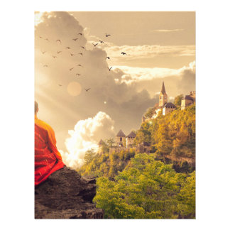 Meditating Monk Before Large Temple Letterhead