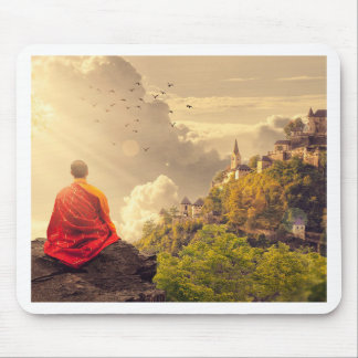 Meditating Monk Before Large Temple Mouse Pad