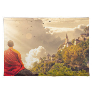 Meditating Monk Before Large Temple Placemat
